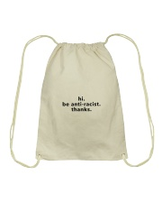 be anti-racist - Black Print Drawstring Bag thumbnail
