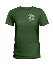 Make Racism Wrong Again - White on Green Ladies T-Shirt thumbnail