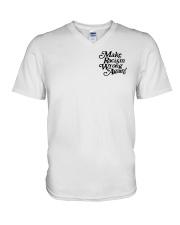 Make Racism Wrong Again - Black on White V-Neck T-Shirt thumbnail