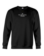 be anti-racist - White Print Crewneck Sweatshirt front