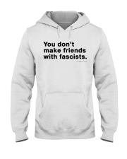 You don't make friends with fascists - Black Print Hooded Sweatshirt thumbnail