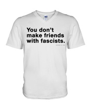 You don't make friends with fascists - Black Print V-Neck T-Shirt thumbnail