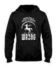 Never tell a Sagittarius Black  Hooded Sweatshirt thumbnail