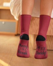 Mommy Is on A Break - Go Ask Daddy Crew Length Socks aos-accessory-crew-length-socks-lifestyle-back-01