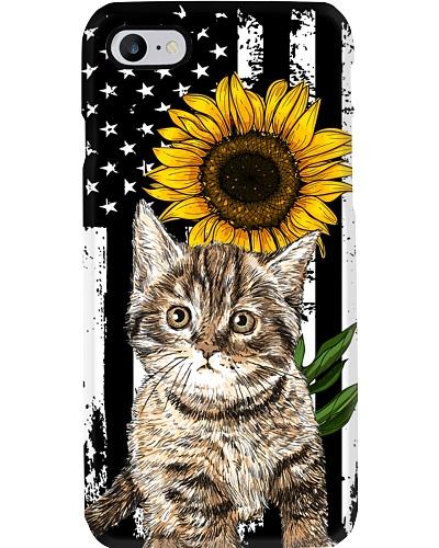 cat sunflower american flag