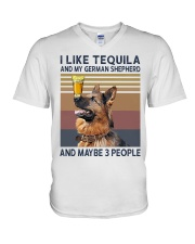 Tequila and German Shepherd V-Neck T-Shirt thumbnail