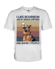 Bourbon and German Shepherd V-Neck T-Shirt thumbnail