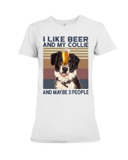 I LIKE BEER AND COLLIE Premium Fit Ladies Tee thumbnail