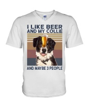 I LIKE BEER AND COLLIE V-Neck T-Shirt thumbnail