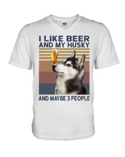 Beer and husky V-Neck T-Shirt thumbnail