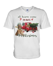 Golden Retriever Christmas V-Neck T-Shirt thumbnail