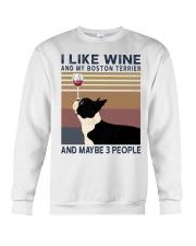 Wine and Boston Terrier Crewneck Sweatshirt thumbnail