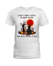 Witch Wine German Shepherd Ladies T-Shirt thumbnail