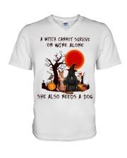 Witch Wine German Shepherd V-Neck T-Shirt thumbnail