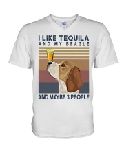 Tequila and Beagle V-Neck T-Shirt thumbnail