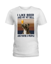Beer and Pitbulls Ladies T-Shirt thumbnail