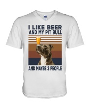 Beer and Pitbulls V-Neck T-Shirt thumbnail