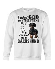 Dachshund Asked God Crewneck Sweatshirt thumbnail