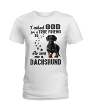 Dachshund Asked God Ladies T-Shirt thumbnail