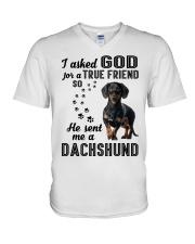 Dachshund Asked God V-Neck T-Shirt thumbnail