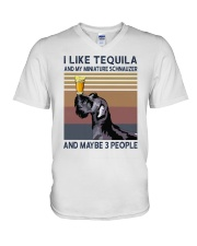 Tequila and Miniature Schnauzer V-Neck T-Shirt thumbnail