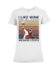 Wine and Corgi Premium Fit Ladies Tee thumbnail