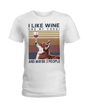 Wine and Corgi Ladies T-Shirt thumbnail