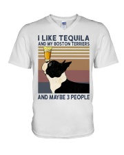 Tequila and Boston Terriers V-Neck T-Shirt thumbnail