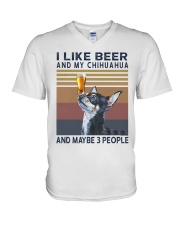 Beer and Chihuahua V-Neck T-Shirt thumbnail