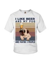 I LIKE BEER AND PUG Youth T-Shirt thumbnail