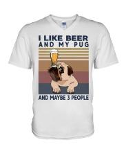 I LIKE BEER AND PUG V-Neck T-Shirt thumbnail