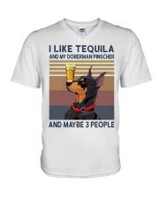 Tequila and Doberman Pinscher V-Neck T-Shirt thumbnail