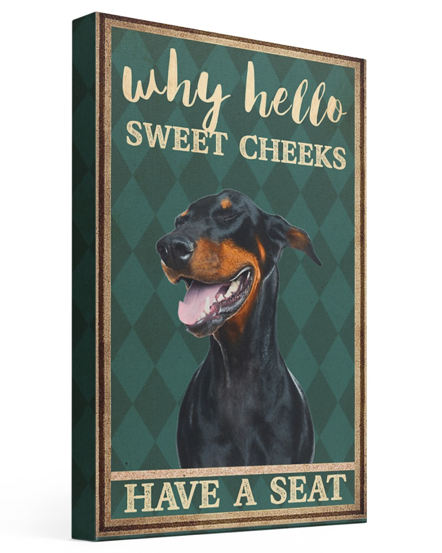 Doberman Pinscher why hello 16x24 Gallery Wrapped Canvas Prints