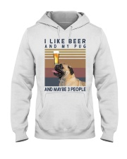 BEER AND PUG hp Hooded Sweatshirt tile