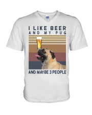 BEER AND PUG hp V-Neck T-Shirt tile