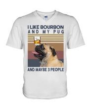 Bourbon and Pug V-Neck T-Shirt thumbnail