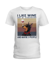 Wine and Dobermann Ladies T-Shirt tile
