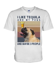 Tequila and Pugs V-Neck T-Shirt thumbnail