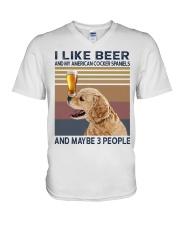 Beer and American Cocker Spaniels V-Neck T-Shirt thumbnail