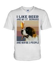 Beer and Saint Bernard V-Neck T-Shirt thumbnail