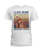 Wine and Cocker spaniels Ladies T-Shirt tile