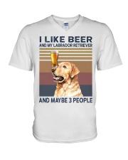 I like beer and Labrador V-Neck T-Shirt thumbnail