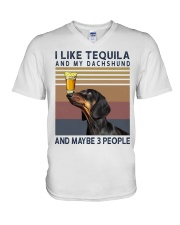 Tequila and Dachshund V-Neck T-Shirt thumbnail
