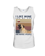 Wine and Pug Unisex Tank thumbnail