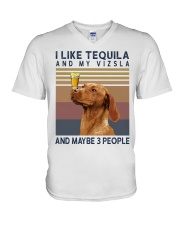 Tequila and Vizsla V-Neck T-Shirt thumbnail