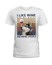 Wine and Husky Ladies T-Shirt thumbnail
