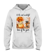 Pug dog love fall Hooded Sweatshirt thumbnail