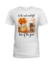 Pug dog love fall Ladies T-Shirt thumbnail