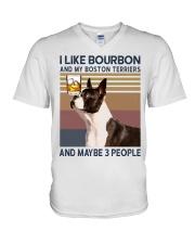 Bourbon and Boston Terrier kp V-Neck T-Shirt thumbnail