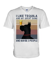 Tequila and Great Dane V-Neck T-Shirt thumbnail